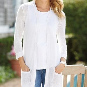 100% Linen Cynthia Rowley White Cover-up Cardigan